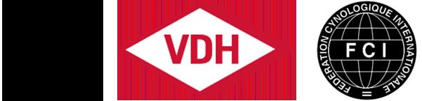 Logos des Club für britische Hütehunde, des VDH und der FCI, in denen wir Mitglied sind und unter deren Schirmherrschaft wir unsere Border Collies züchten.
