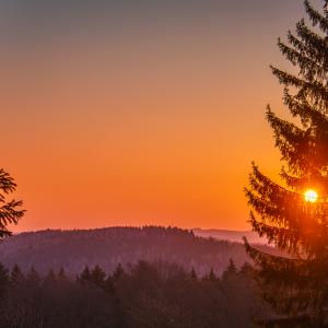 Urlaub mit Hund im Erzgebirge, Sonnenaufgang