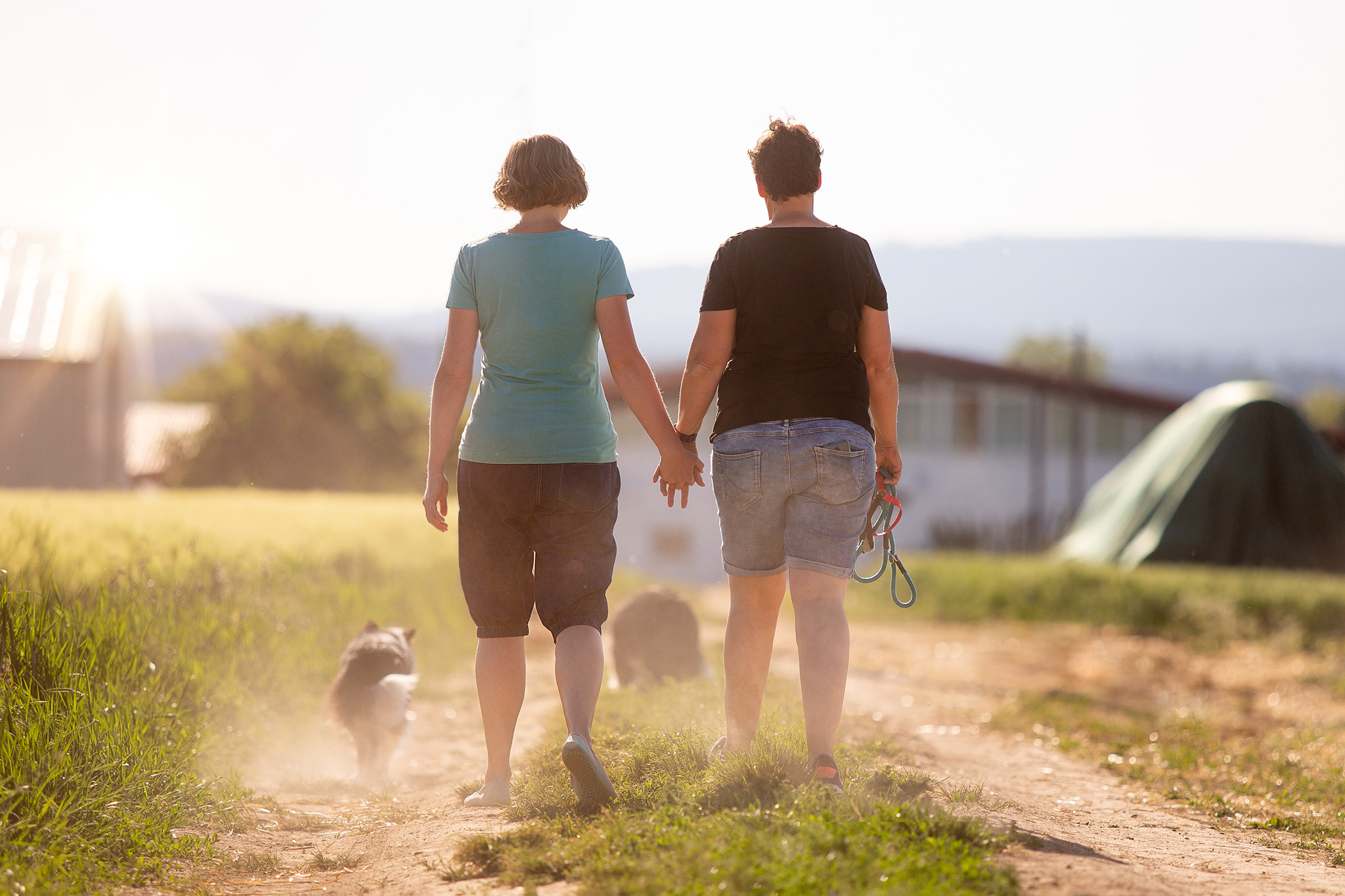 Lesbisches Paar mit zwei Border Collies