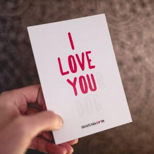 I Love Your Dog, Grußkarte mit partiellem UV-Lack, Broadmeadows Border Collies