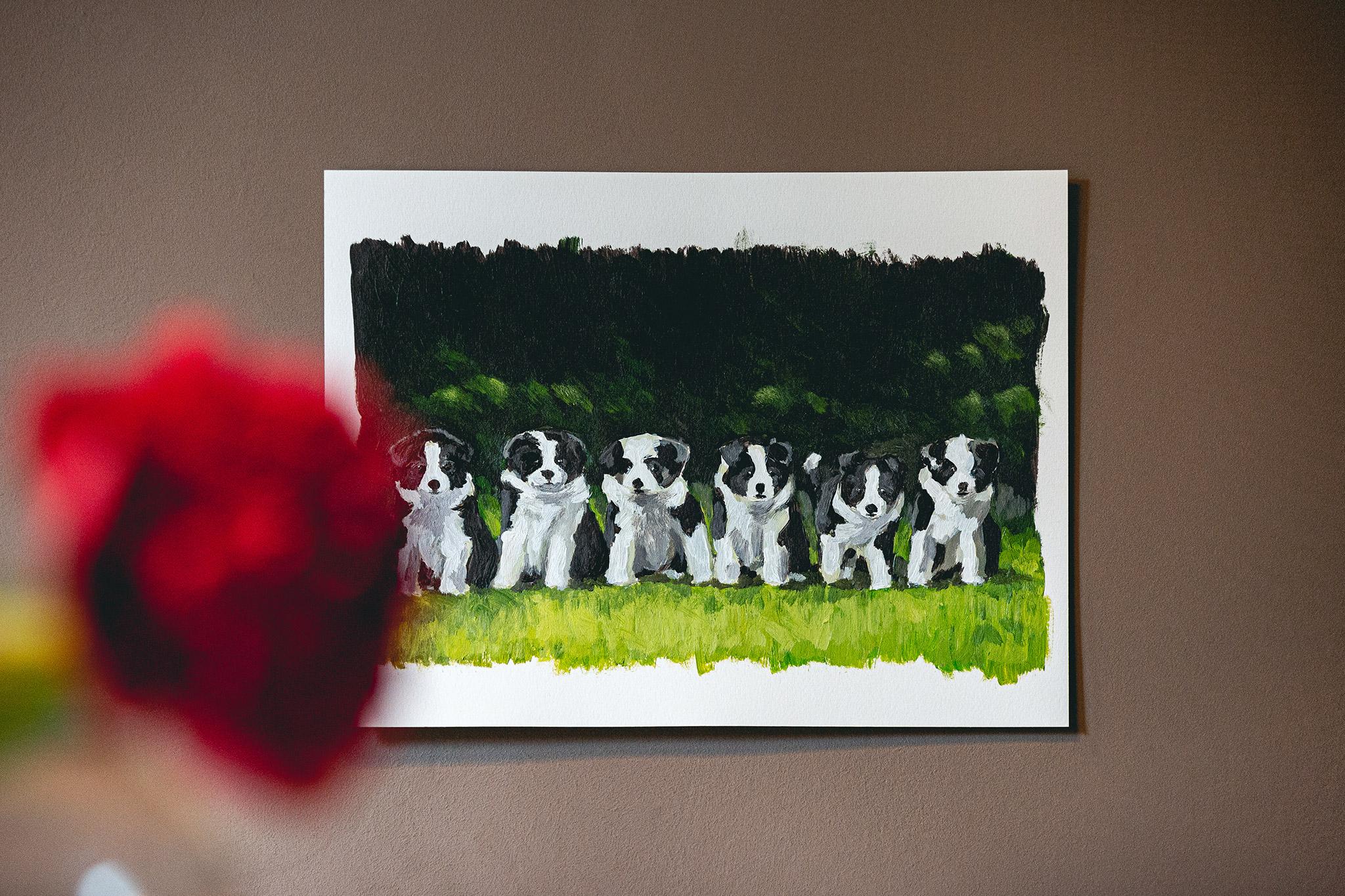 Acrylbild Border Collie Welpen