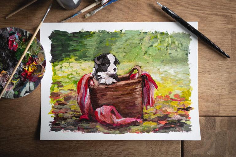 Acrylgemälde Border Collie Welpe